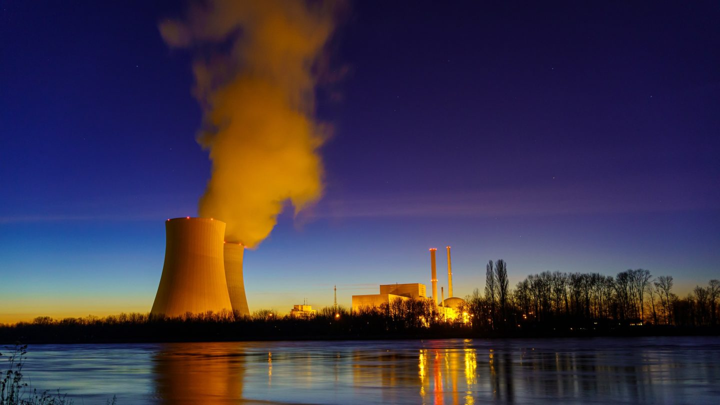 night view nuclear power plant